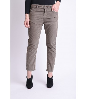 Pantalon Femme AMY.W Straight Cropped Velours Léger Noisette