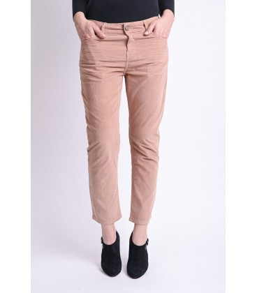Pantalon Femme AMY.W Straight Cropped Velours Léger Nude
